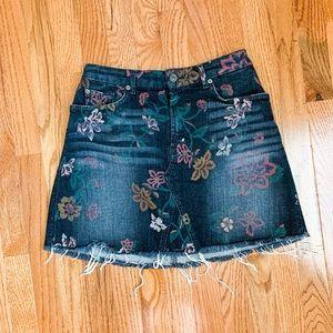 7 for All Mankind Floral Printed Denim Skirt